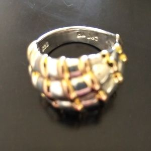 Sterling Silver Diagonal with Gold Colored Stripes